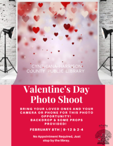 Valentine's Day Photo Shoot~Bring your loved ones or just yourself for our Valentine's Day Photo Shoot.  Backdrop and some props are provided, all you need is your phone or camera to take the photos.