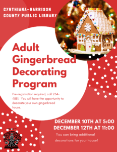 Adult Gingerbread House Decorating Program