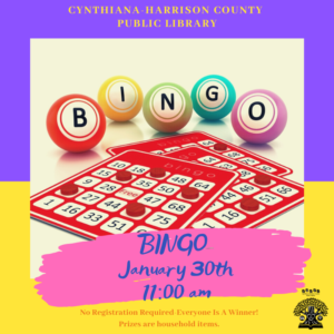 Bingo For Adults: Everyone is a winner! Prizes are household items. No registration required.
