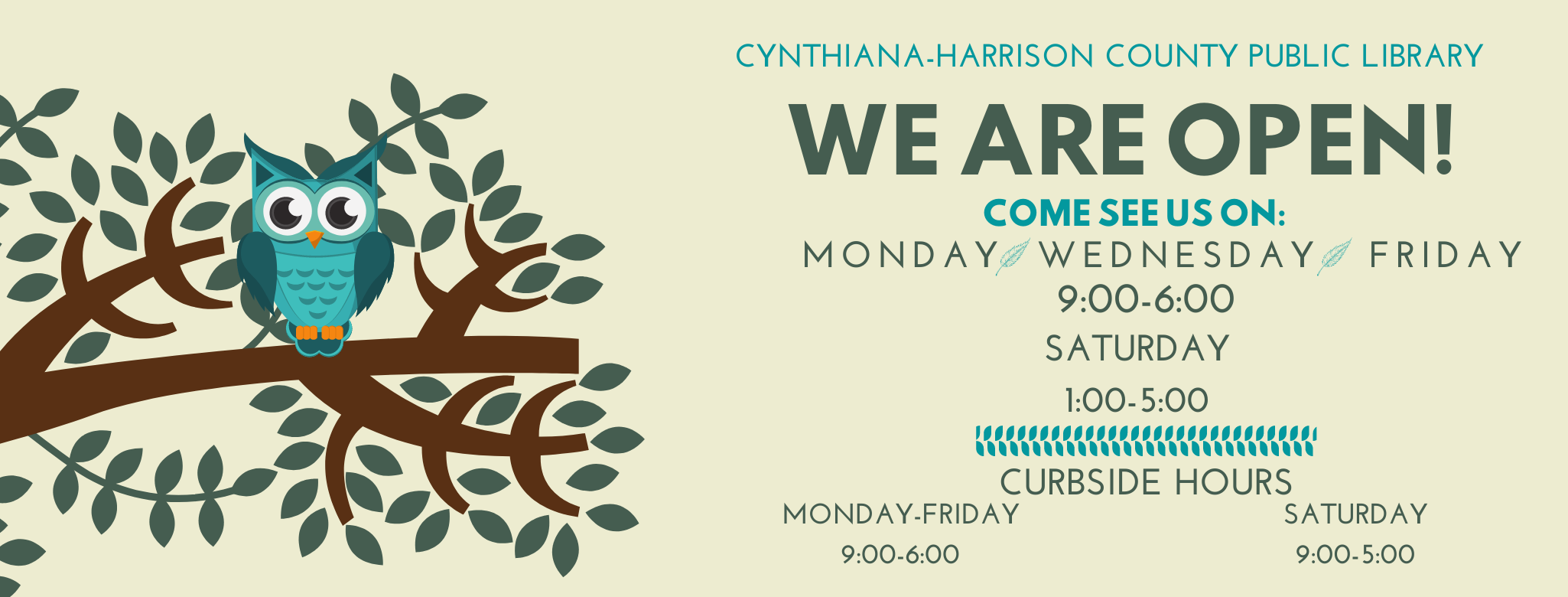 New Hours August FB Cover